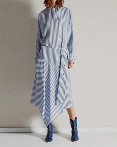 TIBI viscose stripe shirting skirt  blue multi