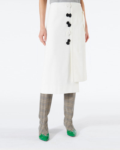 TIBI mora suiting asymmetric flap skirt ivory