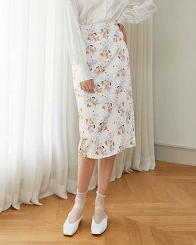 ┃HACER SEOUL┃ 18 SPRING FLOWER PATTERN PENCIL SKIRTflower pattern