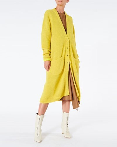 TIBI alry alpaca long cardigan  carame multi / lemon yellow multi