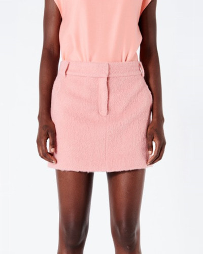 TIBI luxe mohair mini trouser skirt pink haze