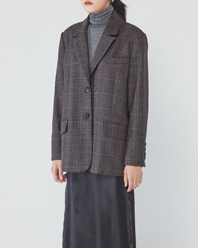 JO5 boy single jacket brown check