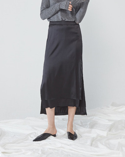 JO5 boy unbalanced long skirt black