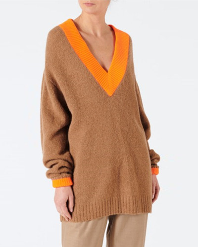 TIBI airy alpaca v-neck pullover with contrast rib   caramel / lemon yellow multi