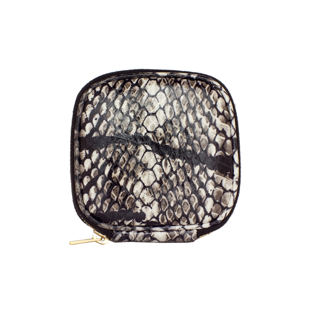[VITAFEDE]SNAKESKIN JEWELRY TRAVEL POUCH GOLDIN BLACK&WHITE