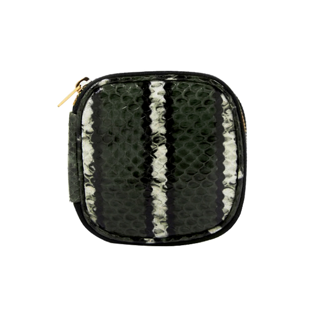 [VITA FEDE]SNAKESKIN JEWELRY TRAVEL POUCH GOLDIN GREEN/BLACK/WHITE