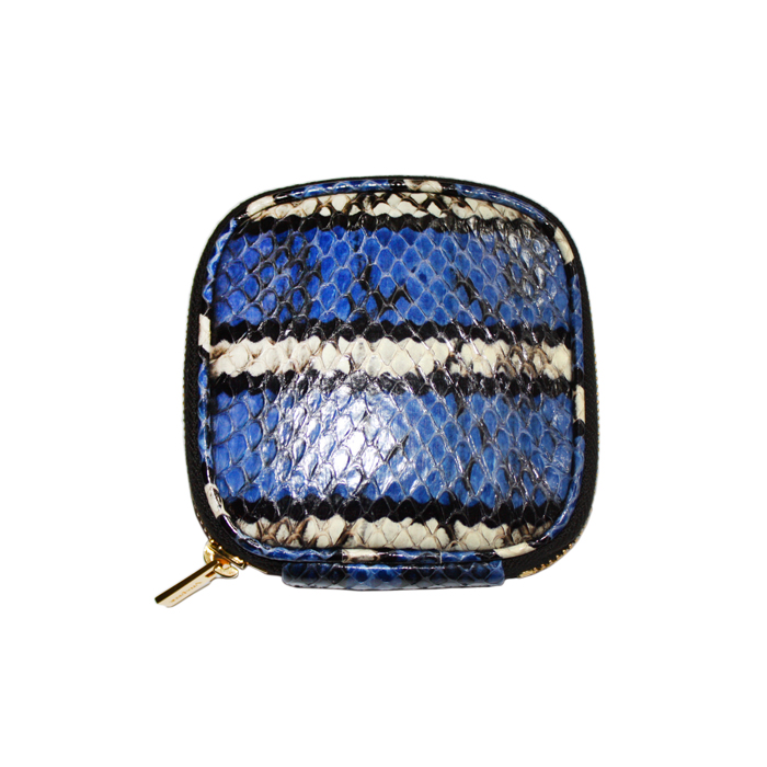 [VITA FEDE]SNAKESKIN JEWELRY TRAVEL POUCH GOLDIN BLUE/BLACK/WHITE