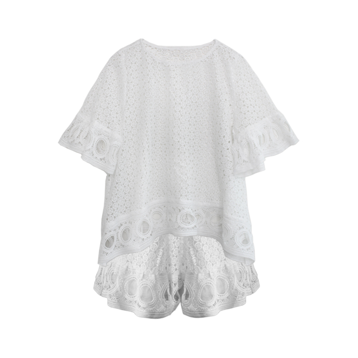 LACE RUFFLED SETIN WHITE