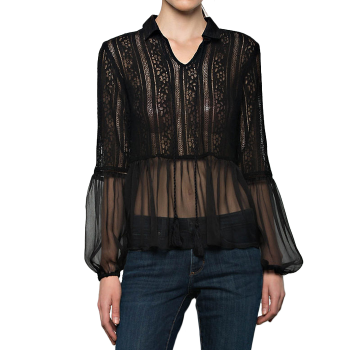 [AFTER MARKET]MIXED LACE BLOUSEIN JET BLACK